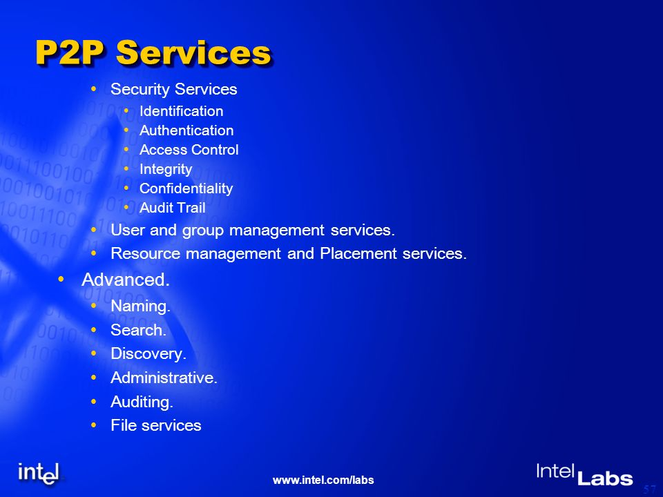 57 P2P Services Security Services Identification Authentication Access Control Integrity Confidentiality Audit Trail User and group management services.