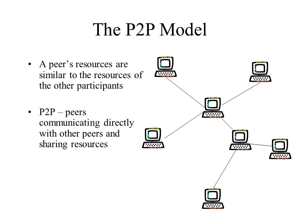 The P2P Model A peers resources are similar to the resources of the other participants P2P – peers communicating directly with other peers and sharing resources