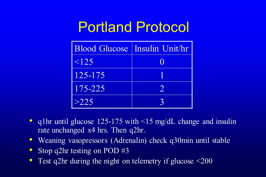 Portland Protocol q1hr until glucose 125-175 with <15 mg/dL change and insulin rate unchanged x4 hrs. Then q2hr. Weaning vasopressors (Adrenalin) chec