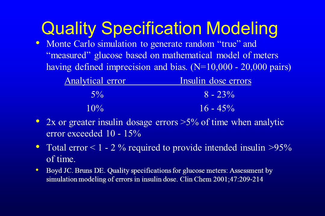 Quality Specification Modeling Monte Carlo simulation to generate random true and measured glucose based on mathematical model of meters having define