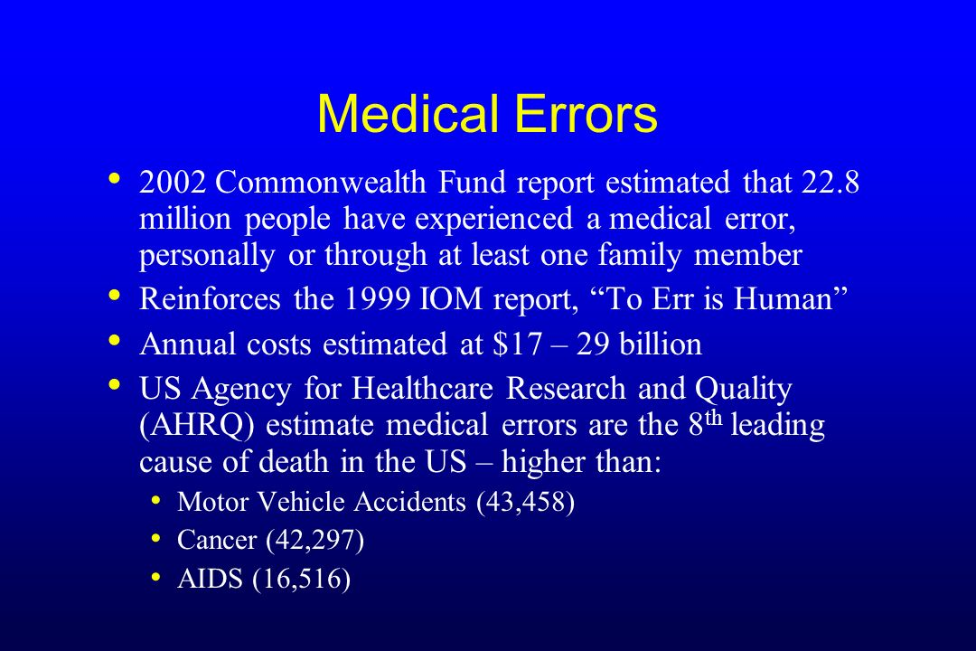 Medical Errors 2002 Commonwealth Fund report estimated that 22.8 million people have experienced a medical error, personally or through at least one f
