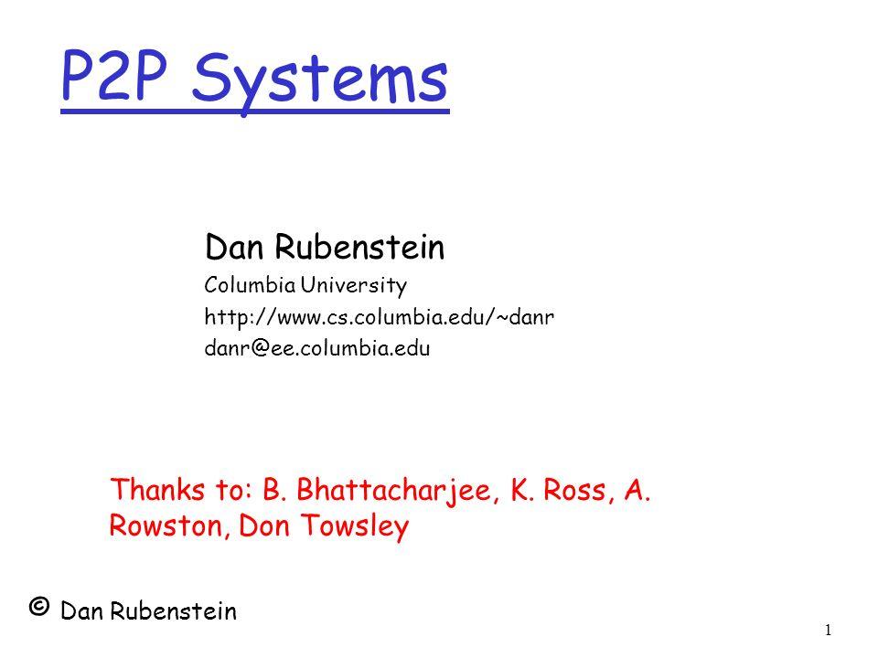 1 P2P Systems Dan Rubenstein Columbia University http://www.cs.columbia.edu/~danr danr@ee.columbia.edu Thanks to: B. Bhattacharjee, K. Ross, A. Rowsto