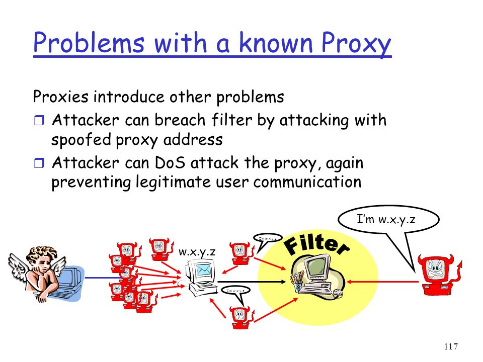 117 Problems with a known Proxy Proxies introduce other problems r Attacker can breach filter by attacking with spoofed proxy address r Attacker can D