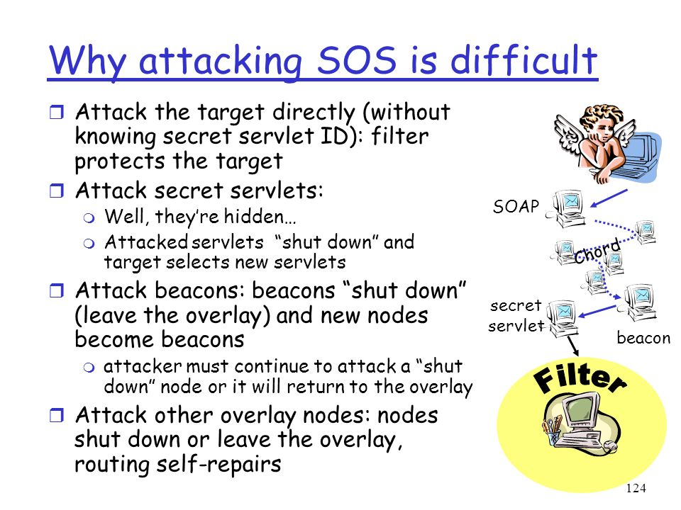 124 Why attacking SOS is difficult r Attack the target directly (without knowing secret servlet ID): filter protects the target r Attack secret servle