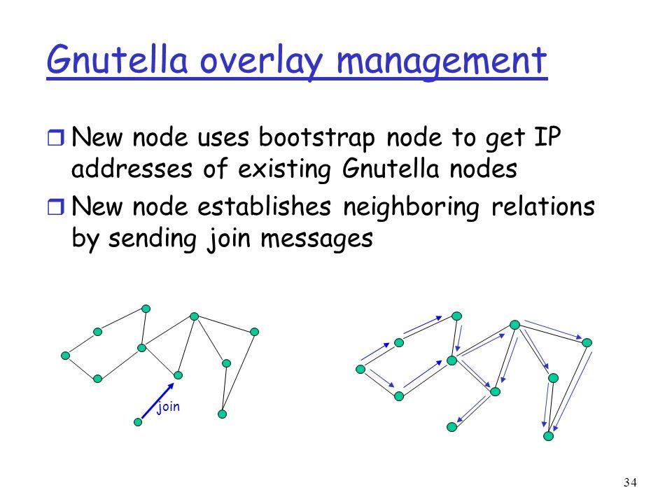 34 Gnutella overlay management r New node uses bootstrap node to get IP addresses of existing Gnutella nodes r New node establishes neighboring relati