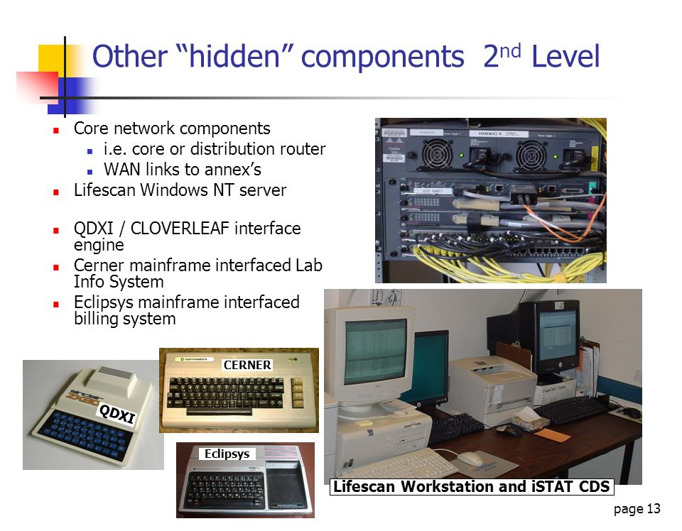 page 13 QDXI Other hidden components 2 nd Level Core network components i.e. core or distribution router WAN links to annexs Lifescan Windows NT serve