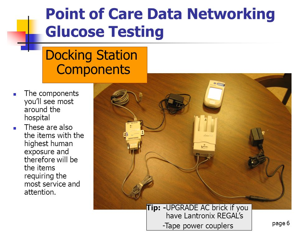 page 6 Point of Care Data Networking Glucose Testing Docking Station Components The components youll see most around the hospital These are also the i