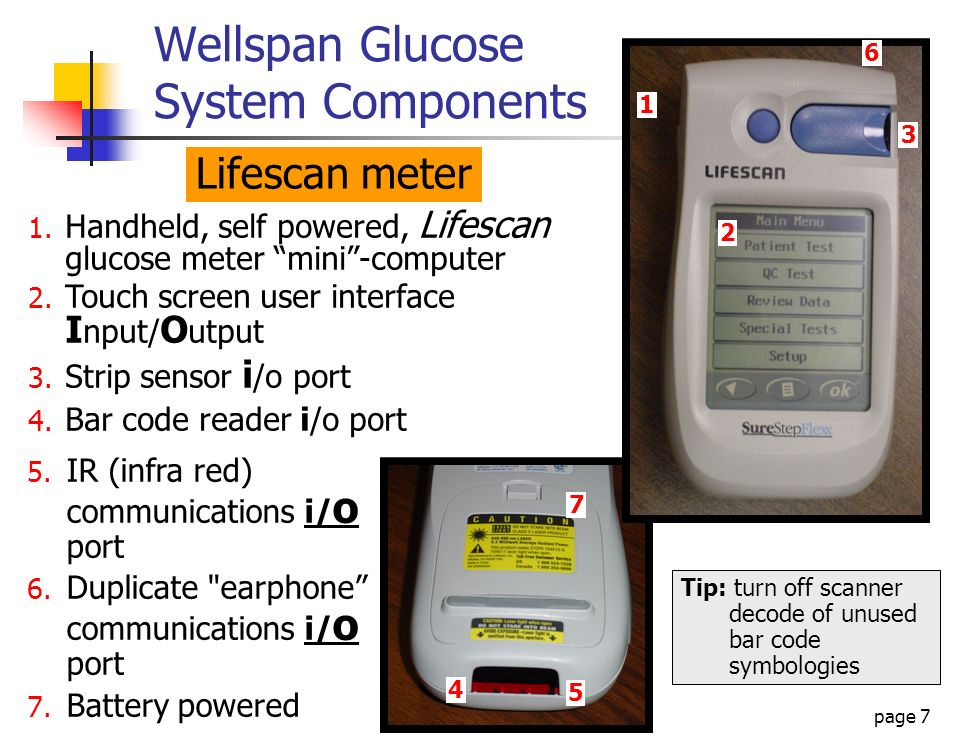 page 7 Wellspan Glucose System Components Lifescan meter 1. Handheld, self powered, Lifescan glucose meter mini-computer 2. Touch screen user interfac
