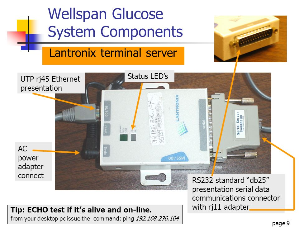 page 30 Wellspan Glucose System Networking Glucose Server Data Collector IP: 10.2.1.1 Gateway: 10.16.9.1 Mask: 255.0.0.0 Glucose Meter B w/IR linking POC dock Ethernet Terminal Server IP: 192.168.236.104 Gateway: 192.168.236.1 Mask: 255.255.255.0