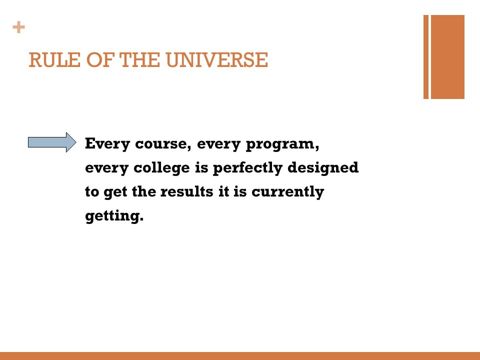 + RULE OF THE UNIVERSE Every course, every program, every college is perfectly designed to get the results it is currently getting.