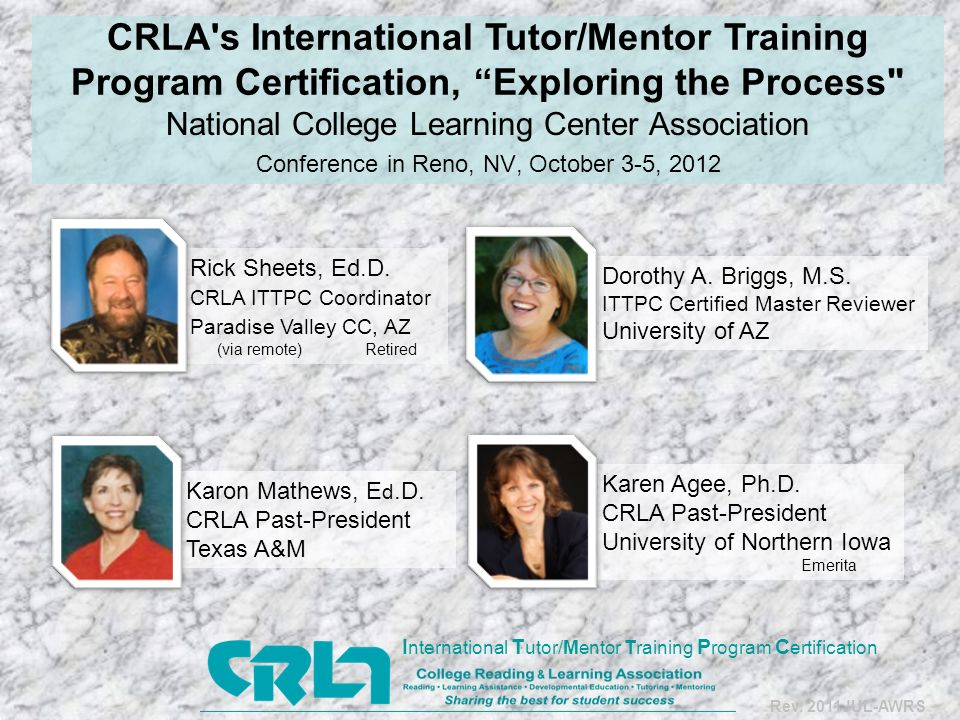 HISTORY of Tutor Training 24 years after its inception, ITTPC has… certified more than 1,000 programs more than 800 programs currently certified trained, certified reviewers http://www.crla.net/