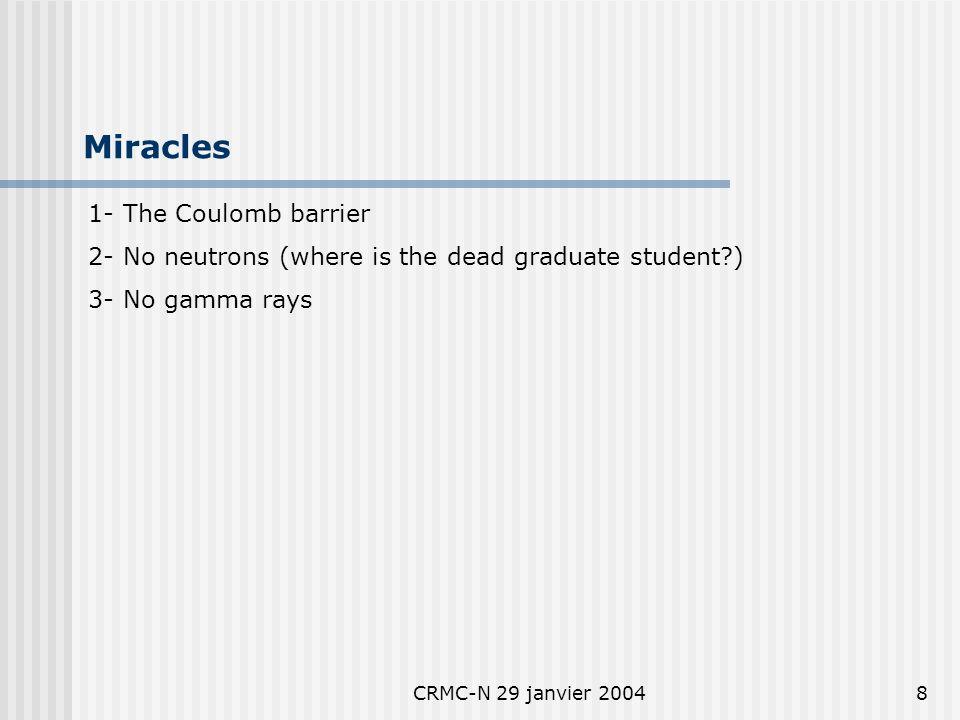 CRMC-N 29 janvier 20047 Reactions D + D T + p4.0 MeV 50% D + D He-3 + n3.3 MeV 50% D + D He-4 + gamma24 MeV 10 -7