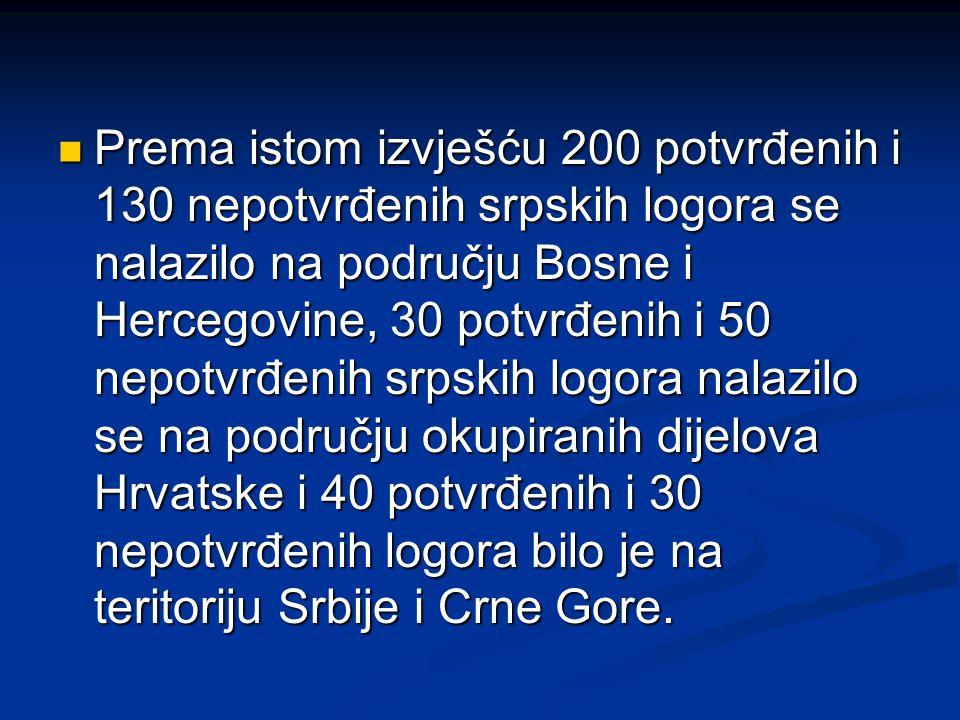 Prema istom izvješću 200 potvrđenih i 130 nepotvrđenih srpskih logora se nalazilo na području Bosne i Hercegovine, 30 potvrđenih i 50 nepotvrđenih srp