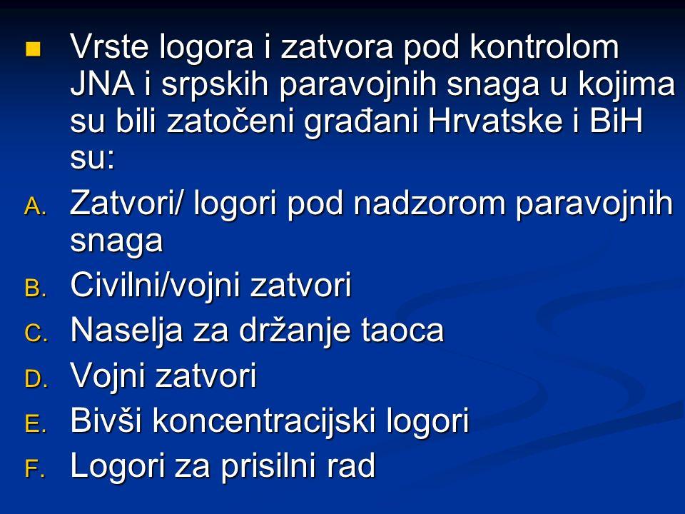 Vrste logora i zatvora pod kontrolom JNA i srpskih paravojnih snaga u kojima su bili zatočeni građani Hrvatske i BiH su: Vrste logora i zatvora pod ko