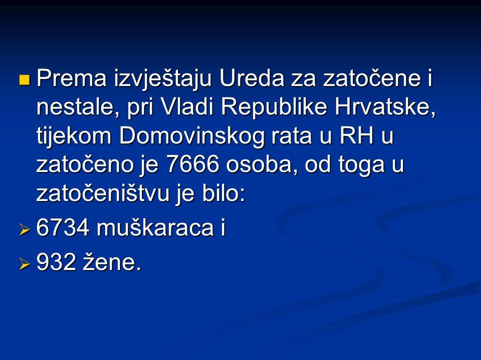 Prema izvještaju Ureda za zatočene i nestale, pri Vladi Republike Hrvatske, tijekom Domovinskog rata u RH u zatočeno je 7666 osoba, od toga u zatočeni