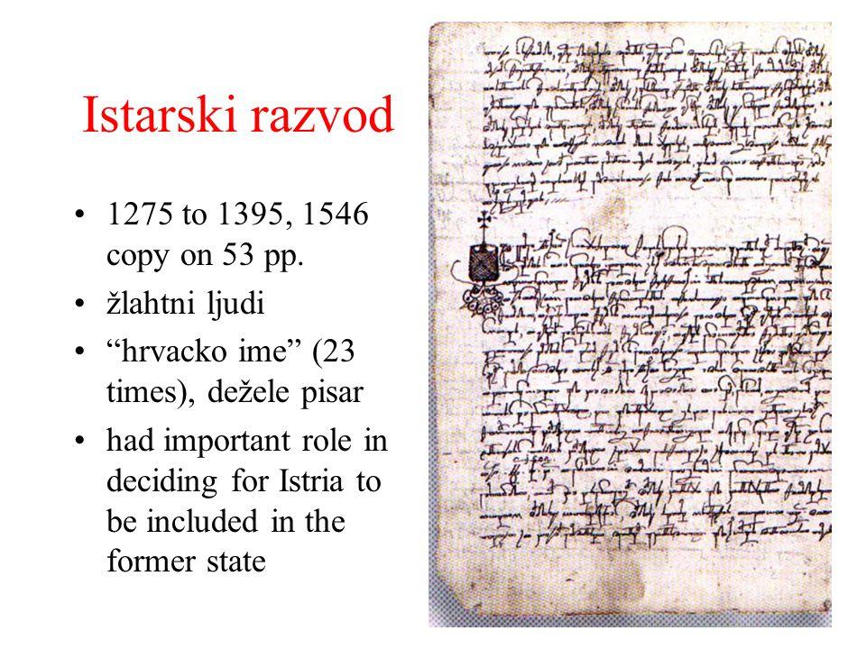 Istarski razvod 1275 to 1395, 1546 copy on 53 pp. žlahtni ljudi hrvacko ime (23 times), dežele pisar had important role in deciding for Istria to be i