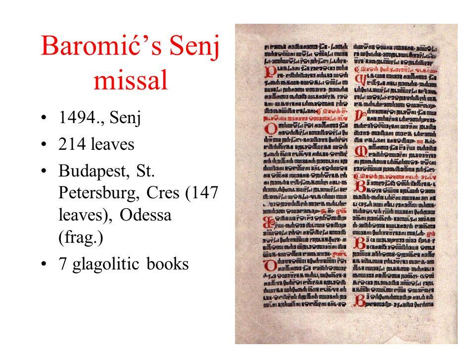 Baromićs Senj missal 1494., Senj 214 leaves Budapest, St.