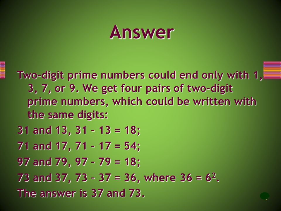 Please find two different two-digit prime numbers such that when you write one of them backwards, you get the other, and the difference between these