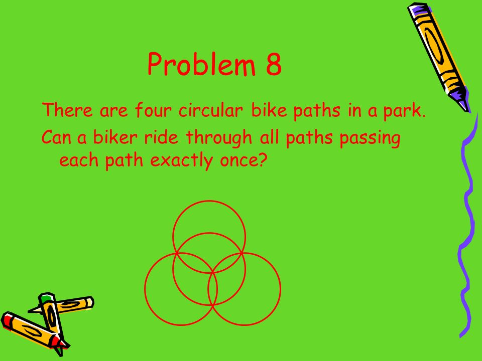 Problem 8 There are four circular bike paths in a park. Can a biker ride through all paths passing each path exactly once?