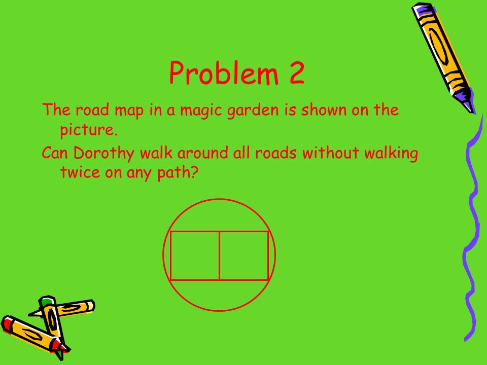 Problem 2 The road map in a magic garden is shown on the picture. Can Dorothy walk around all roads without walking twice on any path?