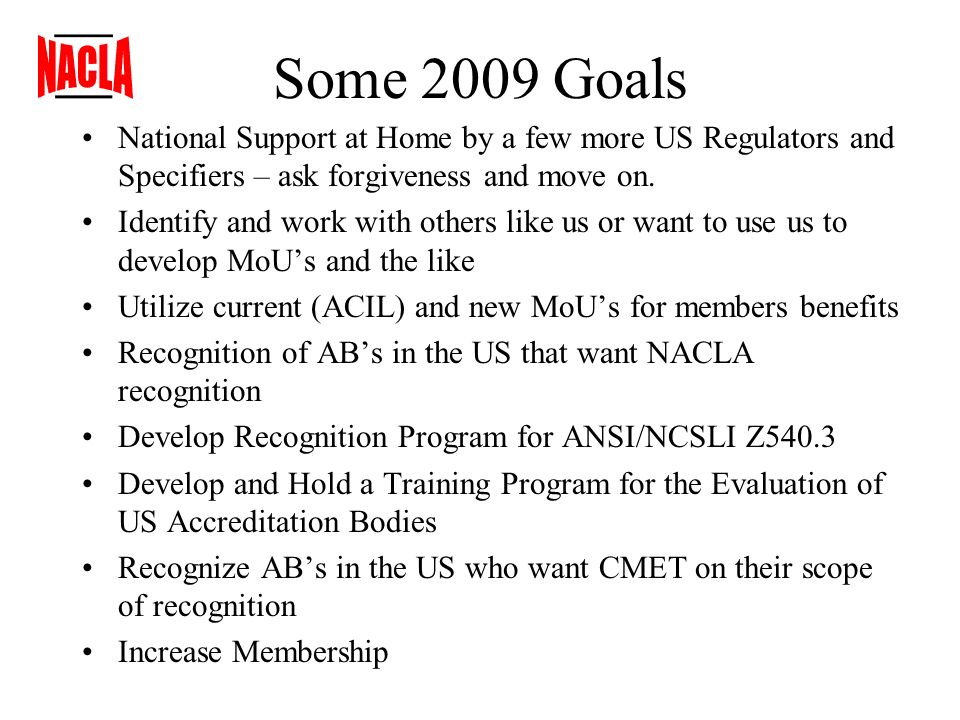 Some 2009 Goals National Support at Home by a few more US Regulators and Specifiers – ask forgiveness and move on.