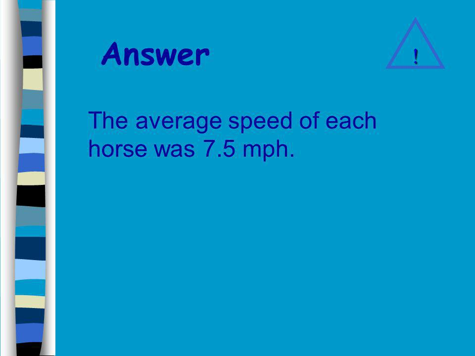 Answer The average speed of each horse was 7.5 mph. !