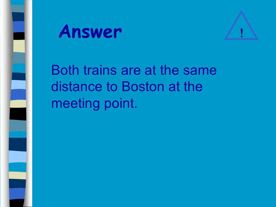 Answer Both trains are at the same distance to Boston at the meeting point. !