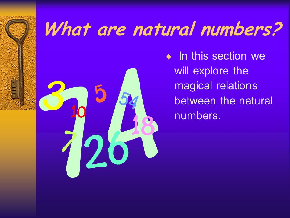 What are natural numbers? Natural numbers are the ones that we use to count: 1, 2, 3,4,5… etc. For example, all of us know that 4 quarters make a doll