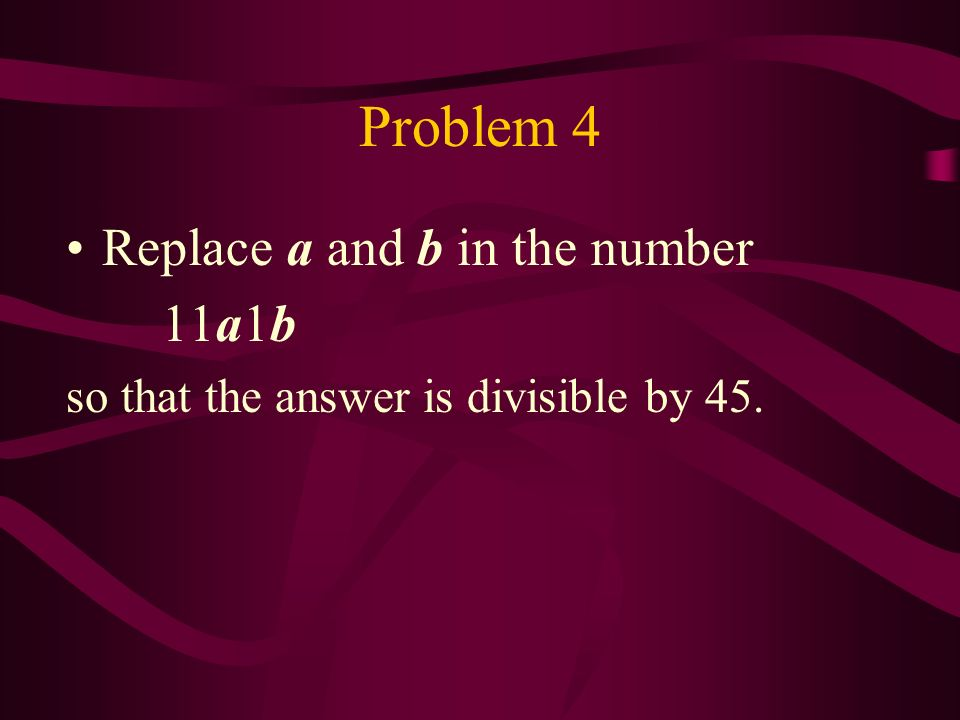 The criterion for divisibility by 9 A natural number is divisible by 9 if and only if the sum of its digits is divisible by 9 Example: the number 5274567 is divisible by 9 because the sum 5+2+7+4+5+6+7=36 is divisible by 9.