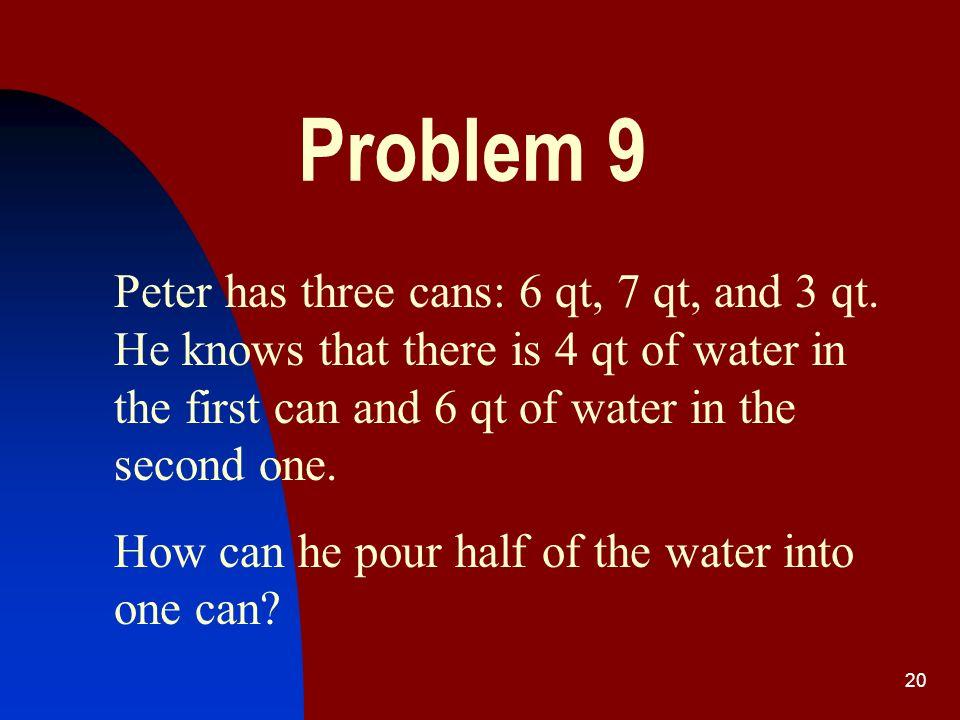 19 Answer /continued / Step11121314151617 Bucket5599226 1-st pot 7 qt 6666666 2-d pot 7 qt 7330766 3-d pot 4 qt 0403340