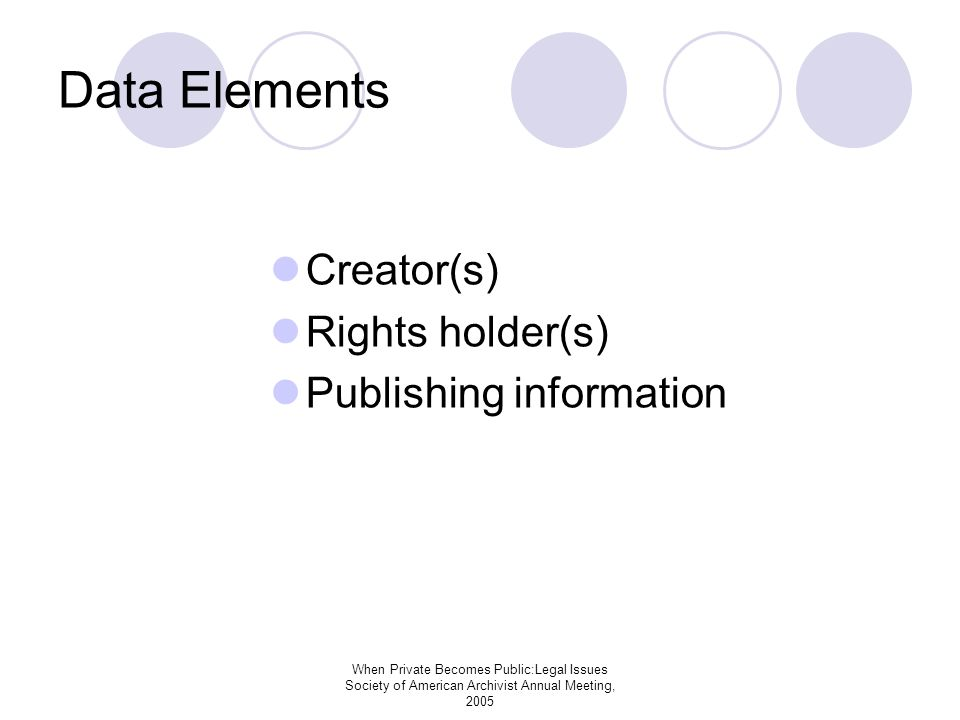 When Private Becomes Public:Legal Issues Society of American Archivist Annual Meeting, 2005 Data Elements Creator(s) Rights holder(s) Publishing information