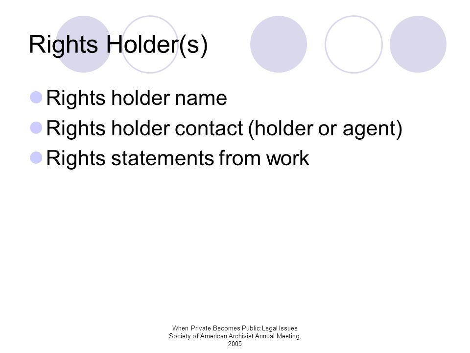 When Private Becomes Public:Legal Issues Society of American Archivist Annual Meeting, 2005 Rights Holder(s) Rights holder name Rights holder contact (holder or agent) Rights statements from work