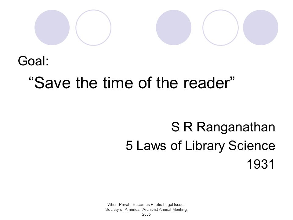 When Private Becomes Public:Legal Issues Society of American Archivist Annual Meeting, 2005 Goal: Save the time of the reader S R Ranganathan 5 Laws of Library Science 1931