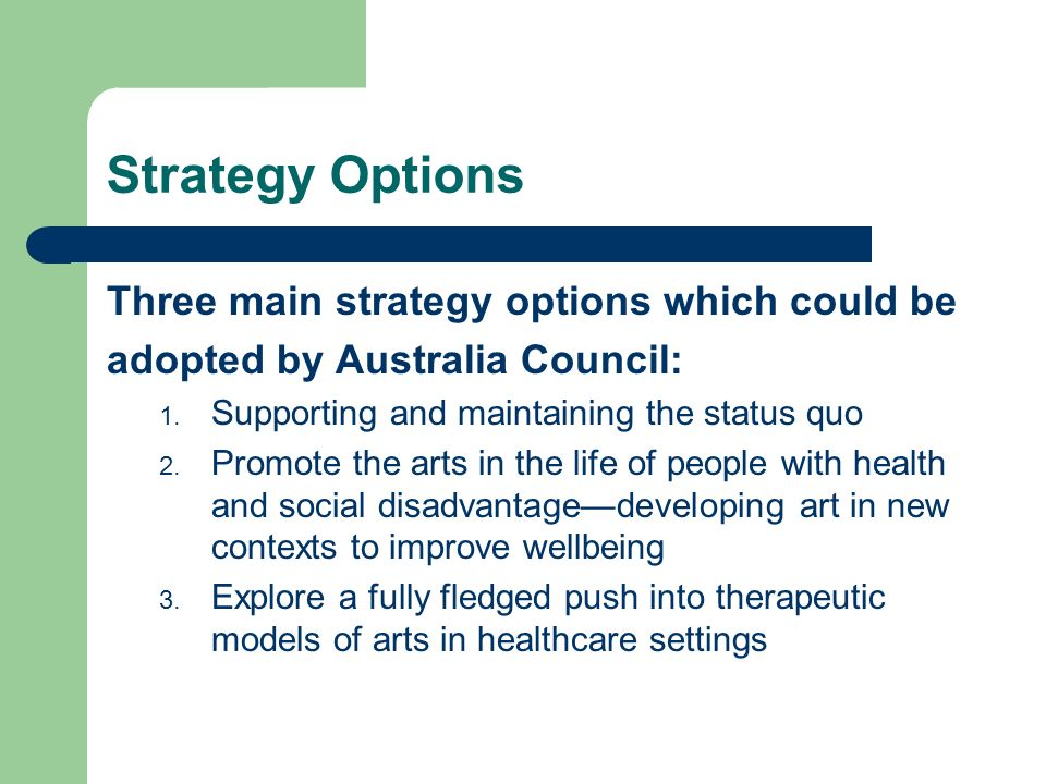 Strategy Options Three main strategy options which could be adopted by Australia Council: 1.