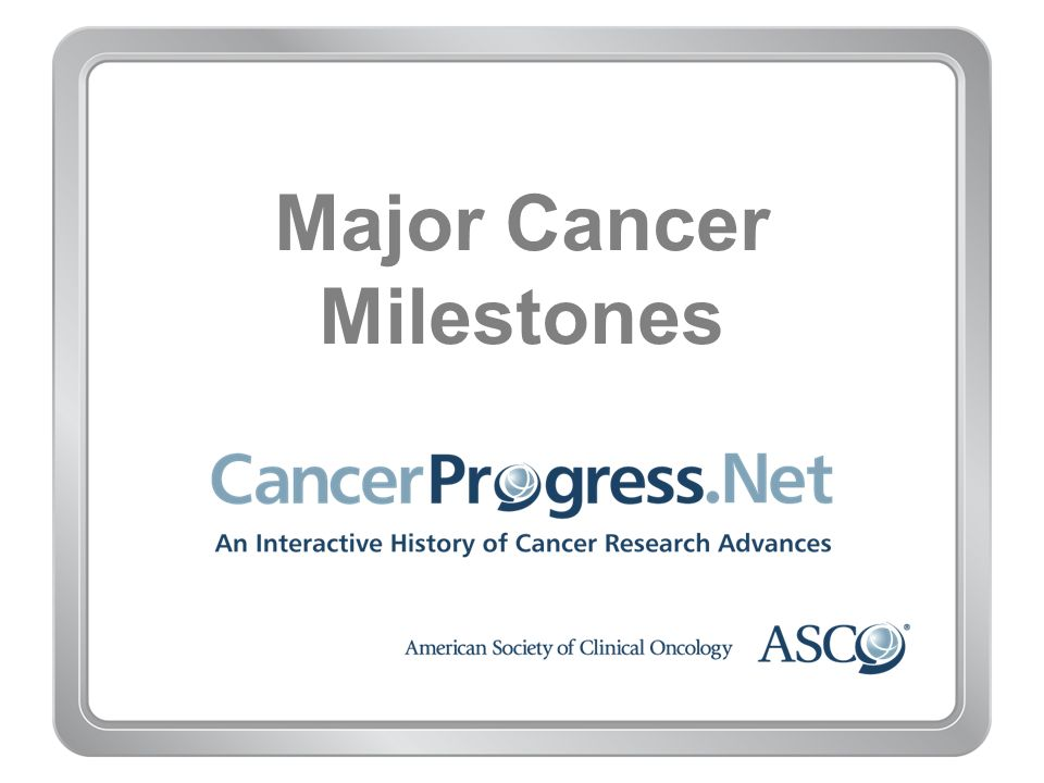 Major Cancer Milestones Five-Year Survival Source: National Cancer Institute