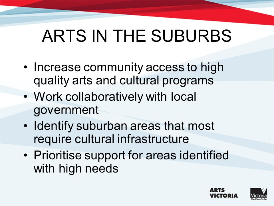 ARTS IN THE SUBURBS Increase community access to high quality arts and cultural programs Work collaboratively with local government Identify suburban areas that most require cultural infrastructure Prioritise support for areas identified with high needs