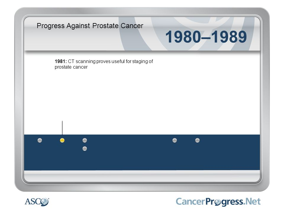 Progress Against Prostate Cancer 1980–1989 1982: New surgical approach helps preserve sexual and urinary function 1982: Early hormone therapy drugs introduced