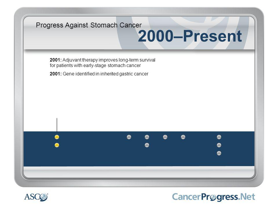 Progress Against Stomach Cancer 2000–Present 2001: Adjuvant therapy improves long-term survival for patients with early-stage stomach cancer 2001: Gene identified in inherited gastric cancer