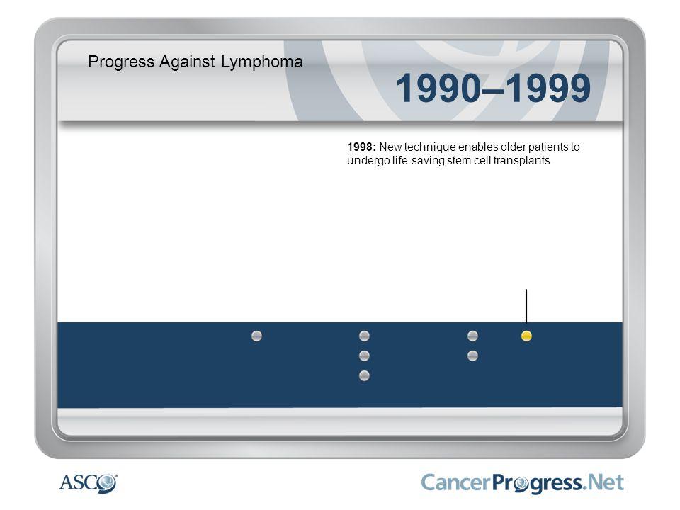 Progress Against Lymphoma 1990–1999 1998: New technique enables older patients to undergo life-saving stem cell transplants