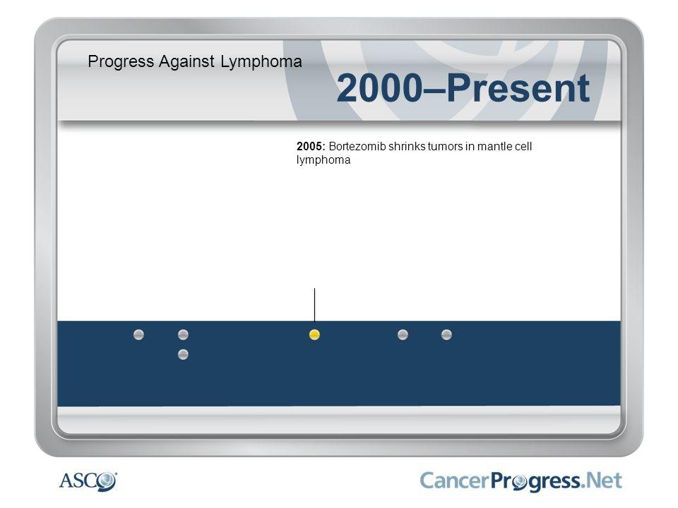 Progress Against Lymphoma 2000–Present 2005: Bortezomib shrinks tumors in mantle cell lymphoma