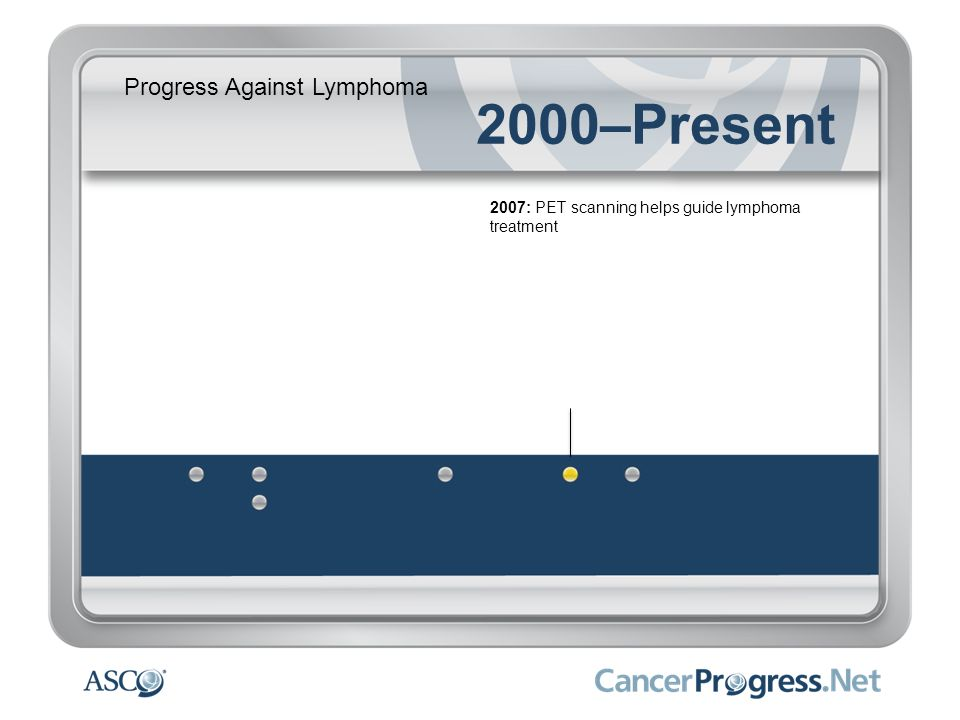 Progress Against Lymphoma 2000–Present 2007: PET scanning helps guide lymphoma treatment