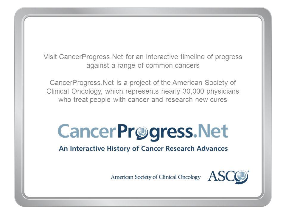 Visit CancerProgress.Net for an interactive timeline of progress against a range of common cancers CancerProgress.Net is a project of the American Soc