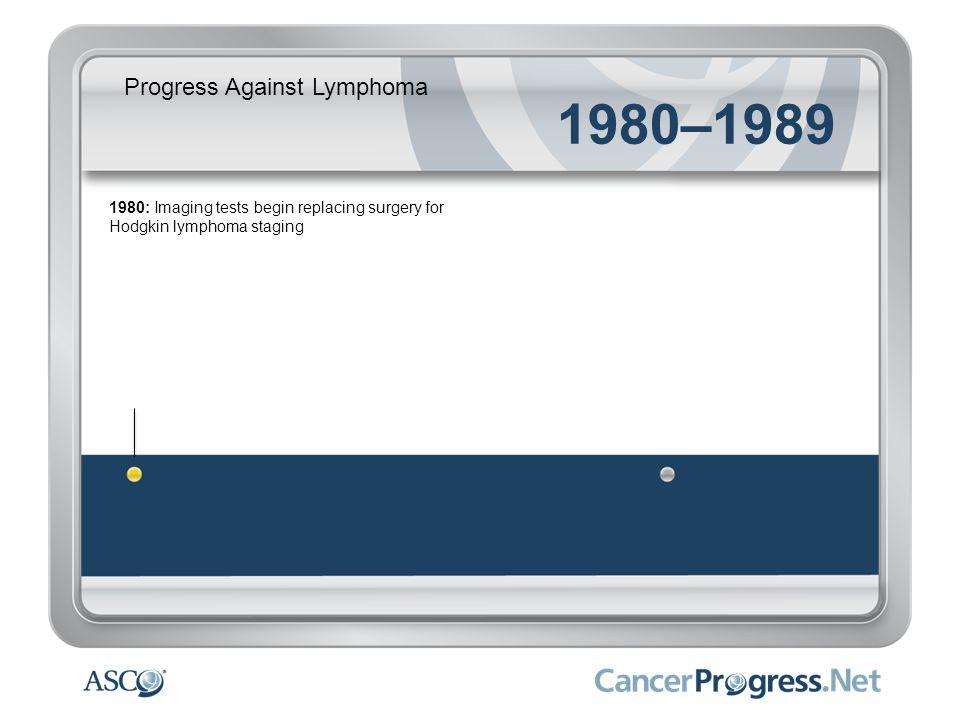 Progress Against Lymphoma 1980–1989 1980: Imaging tests begin replacing surgery for Hodgkin lymphoma staging