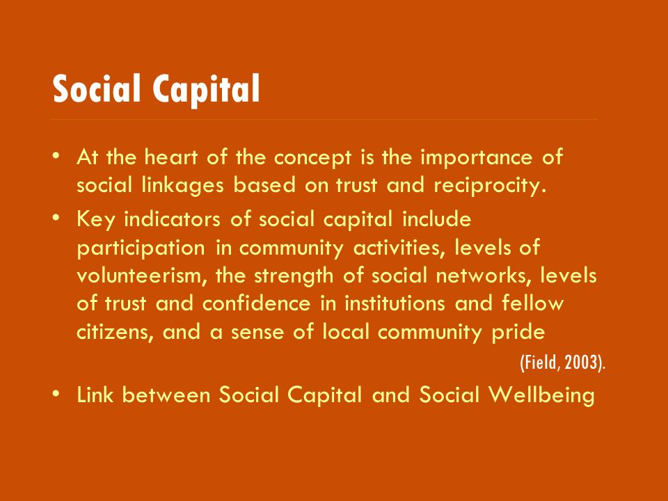 Social Capital At the heart of the concept is the importance of social linkages based on trust and reciprocity.