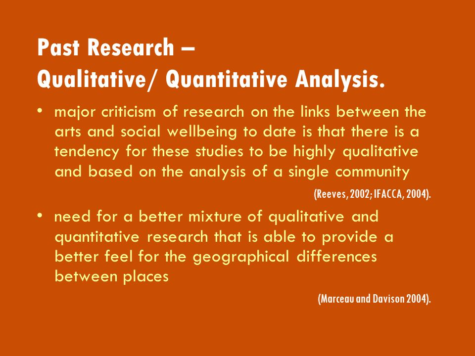 Past Research – Qualitative/ Quantitative Analysis.