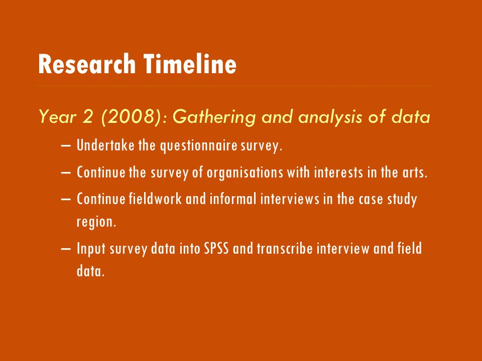 Research Timeline Year 2 (2008): Gathering and analysis of data –Undertake the questionnaire survey.