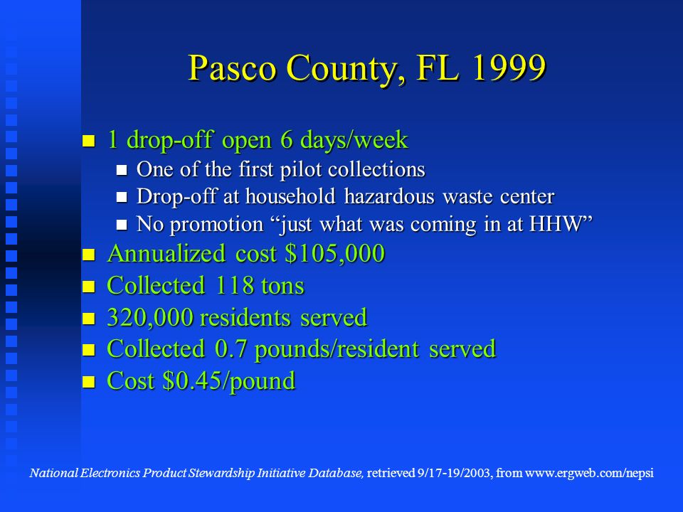 Pasco County, FL 1999 1 drop-off open 6 days/week 1 drop-off open 6 days/week One of the first pilot collections One of the first pilot collections Dr