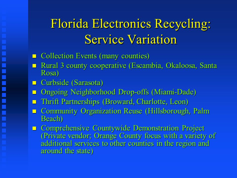 Florida Electronics Recycling: Service Variation Collection Events (many counties) Collection Events (many counties) Rural 3 county cooperative (Escam