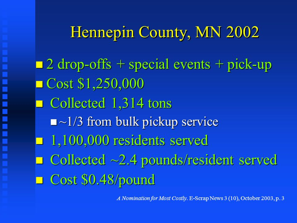 Hennepin County, MN 2002 2 drop-offs + special events + pick-up 2 drop-offs + special events + pick-up Cost $1,250,000 Cost $1,250,000 Collected 1,314