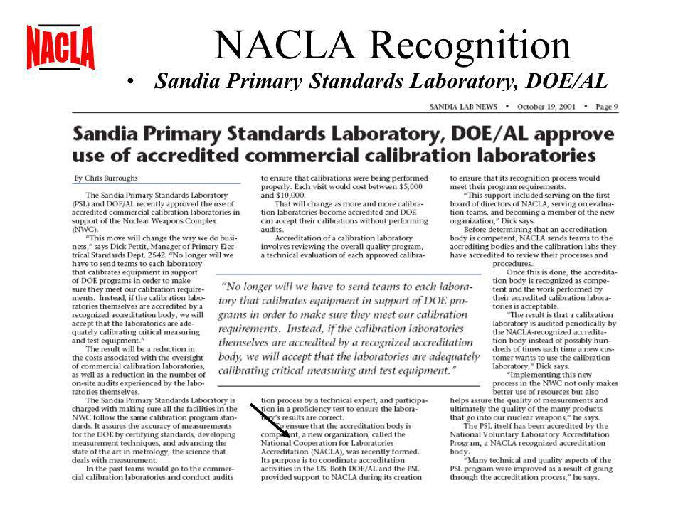 NACLA Recognition Sandia Primary Standards Laboratory, DOE/AL